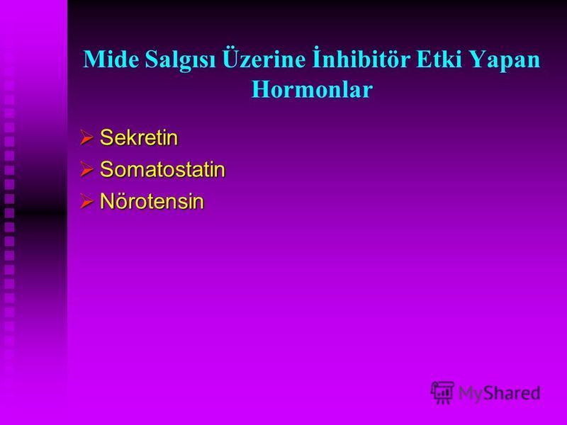 Mide Salgısı Üzerine İnhibitör Etki Yapan Hormonlar Sekretin Sekretin Somatostatin Somatostatin Nörotensin Nörotensin