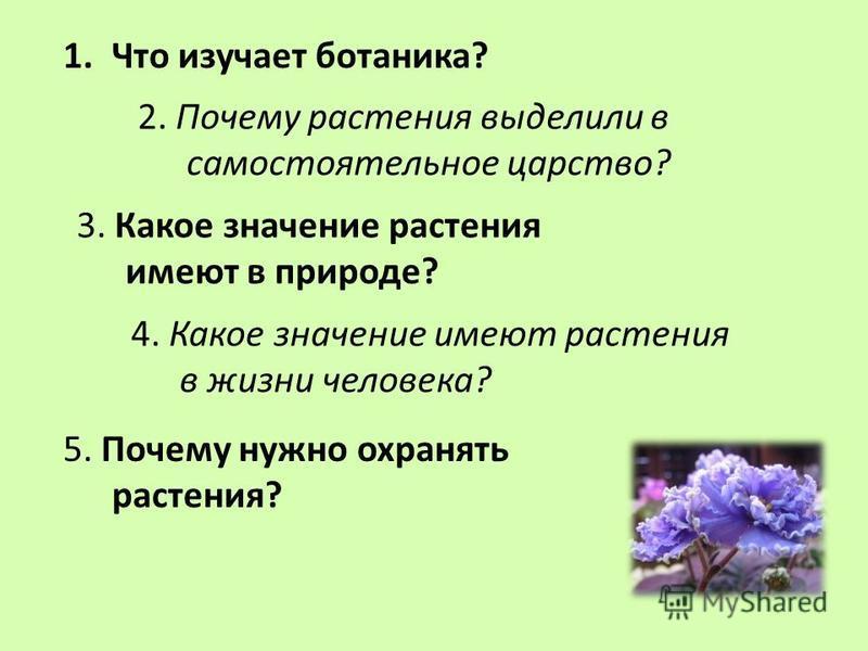 1. Что изучает ботаника? 2. Почему растения выделили в самостоятельное царство? 3. Какое значение растения имеют в природе? 4. Какое значение имеют растения в жизни человека? 5. Почему нужно охранять растения?