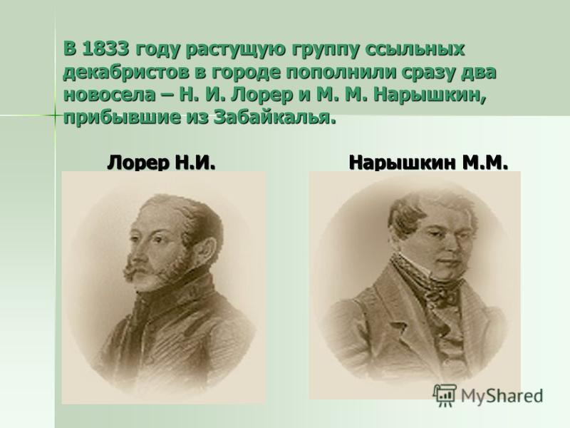 В 1833 году растущую группу ссыльных декабристов в городе пополнили сразу два новосела – Н. И. Лорер и М. М. Нарышкин, прибывшие из Забайкалья. Лорер Н.И. Нарышкин М.М.