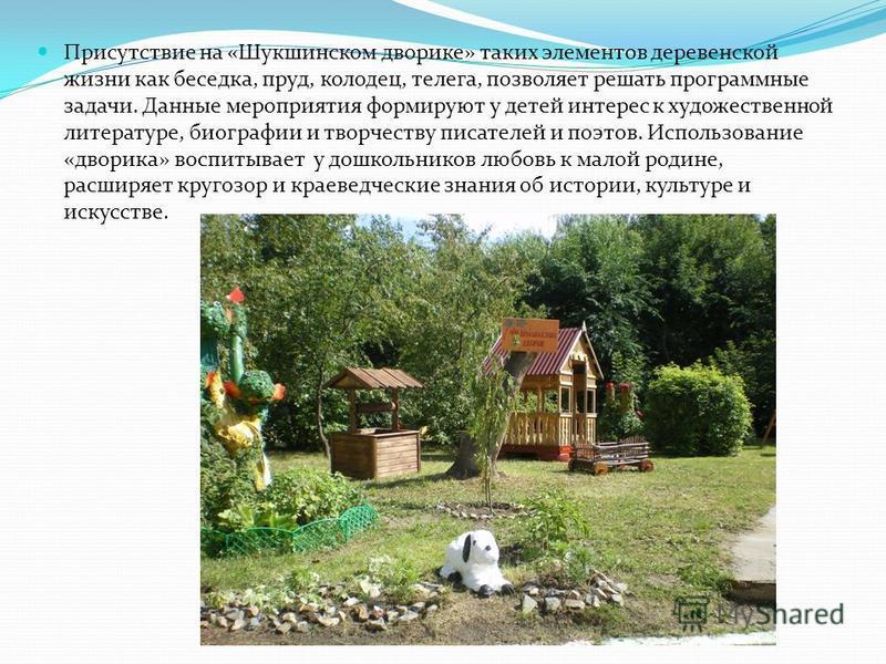 Присутствие на «Шукшинском дворике» таких элементов деревенской жизни как беседка, пруд, колодец, телега, позволяет решать программные задачи. Данные мероприятия формируют у детей интерес к художественной литературе, биографии и творчеству писателей