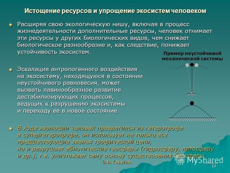 Коняшкин В.А. 12 Расширяя свою экологическую нишу, включая в процесс жизнедеятельнасти дополнительные ресурсы, человек отнимает эти ресурсы у других биологических видов, чем снижает биологическое разнообразие и, как следствие, понижает устойчивость э