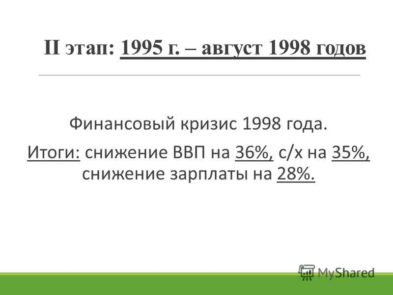 II этап: 1995 г. – август 1998 годов Финансовый кризис 1998 года. Итоги: снижение ВВП на 36%, с/х на 35%, снижение зарплаты на 28%.