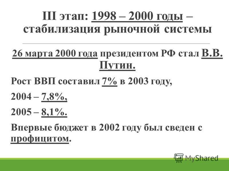 III этап: 1998 – 2000 годы – стабилизация рыночной системы 26 марта 2000 года президентом РФ стал В.В. Путин. Рост ВВП составил 7% в 2003 году, 2004 – 7,8%, 2005 – 8,1%. Впервые бюджет в 2002 году был сведен с профицитом.
