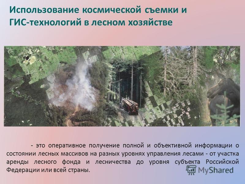 - это оперативное получение полной и объективной информации о состоянии лесных массивов на разных уровнях управления лесами - от участка аренды лесного фонда и лесничества до уровня субъекта Российской Федерации или всей страны. Использование космиче