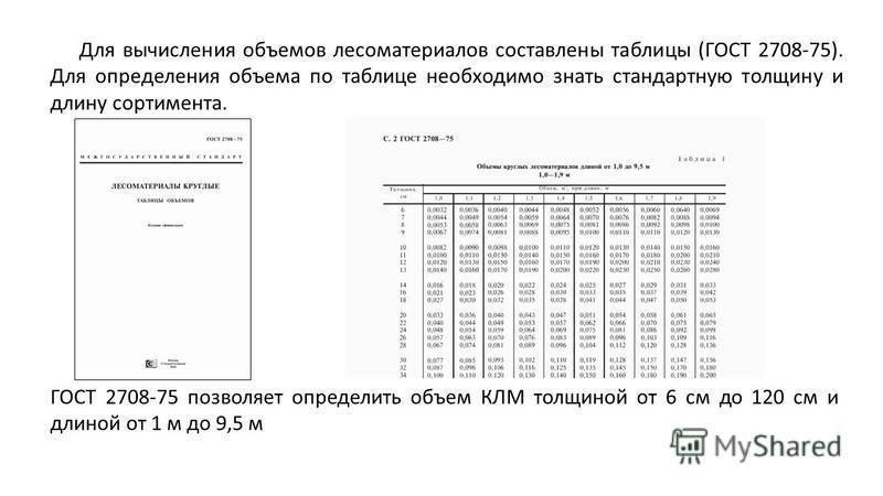 Для вычисления объемов лесоматериалов составлены таблицы (ГОСТ 2708-75). Для определения объема по таблице необходимо знать стандартную толщину и длину сортимента. ГОСТ 2708-75 позволяет определить объем КЛМ толщиной от 6 см до 120 см и длиной от 1 м