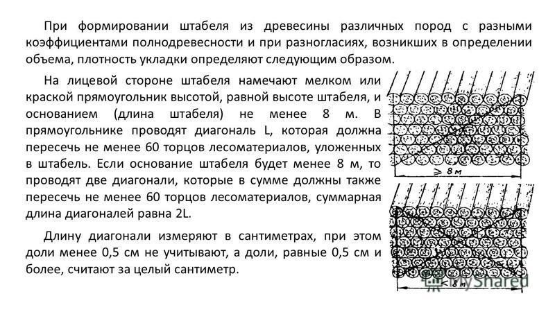 При формировании штабеля из древесины различных пород с разными коэффициентами полнодревесности и при разногласиях, возникших в определении объема, плотность укладки определяют следующим образом. На лицевой стороне штабеля намечают мелком или краской