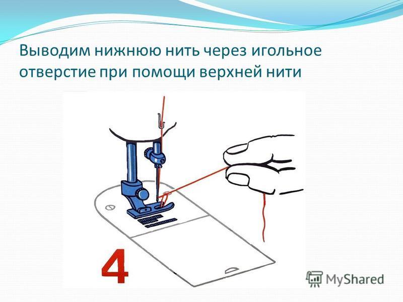 Выводим нижнюю нить через игольное отверстие при помощи верхней нити
