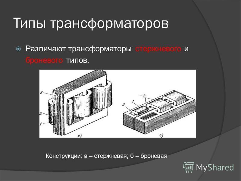 Типы трансформаторов Различают трансформаторы стержневого и броневого типов. Конструкции: а – стержневая; б – броневая