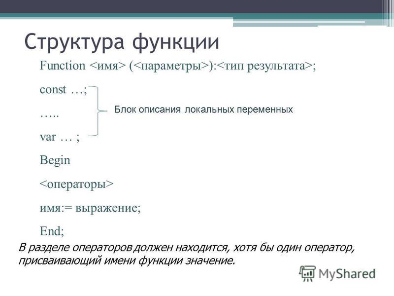 Структура функции Function <имя> (<параметры>):<тип результата>; const …; ….. var … ; Begin <операторы> имя:= выражение; End; В разделе операторов должен находится, хотя бы один оператор, присваивающий имени функции значение. Блок описания локальных
