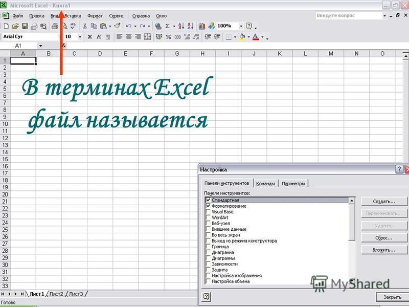 13 В терминах Excel файл называется