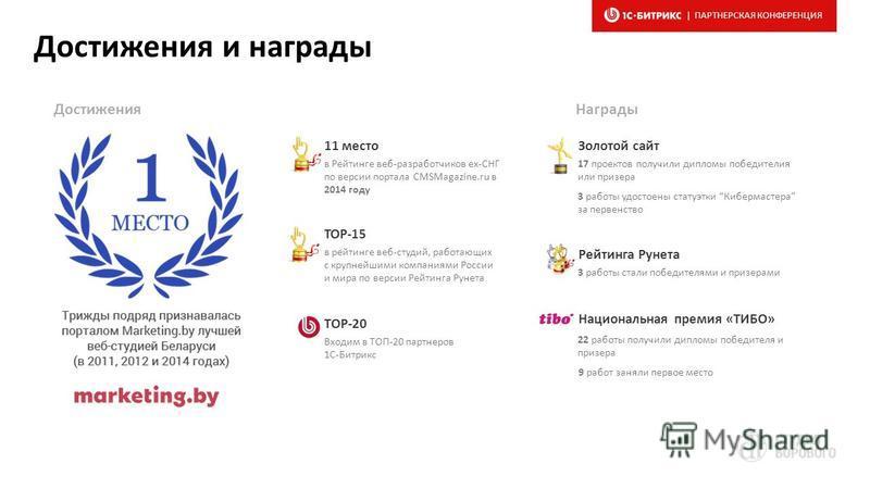 Достижения и награды 11 место в Рейтинге веб-разработчиков ex-СНГ по версии портала CMSMagazine.ru в 2014 году TOP-15 в рейтинге веб-студий, работающих с крупнейшими компаниями России и мира по версии Рейтинга Рунета ТОР-20 Входим в ТОП-20 партнеров