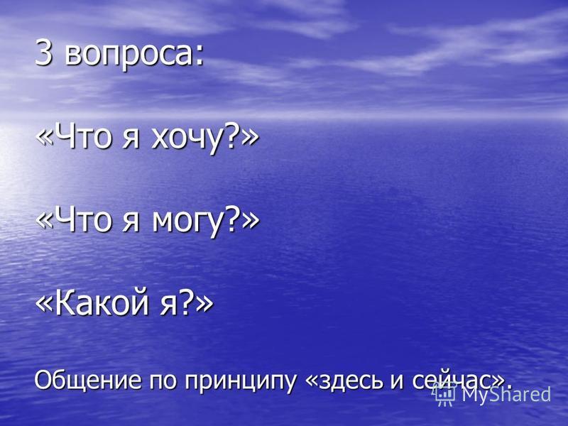 3 вопроса: «Что я хочу?» «Что я могу?» «Какой я?» Общение по принципу «здесь и сейчас».