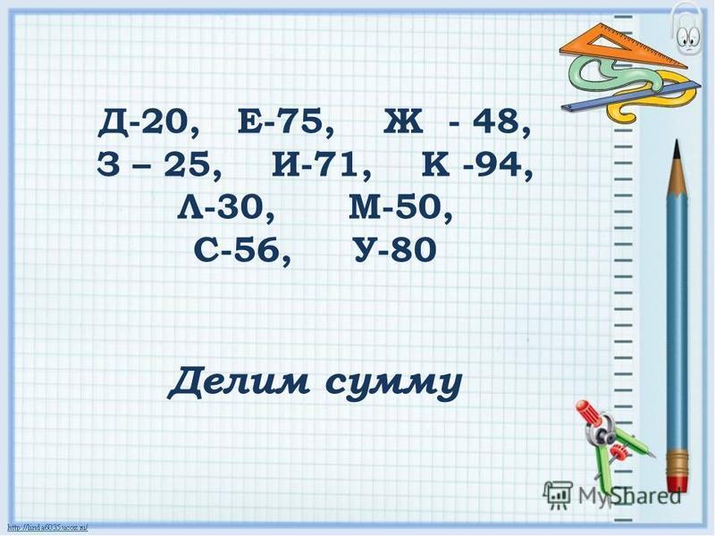 Д-20, Е-75, Ж - 48, З – 25, И-71, К -94, Л-30, М-50, С-56, У-80 Делим сумму