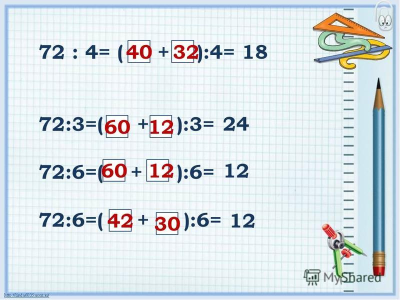 72 : 4= ( + ):4= 72:3=( + ):3= 72:6=( + ):6= 403218 6012 24 6012 42 30 12