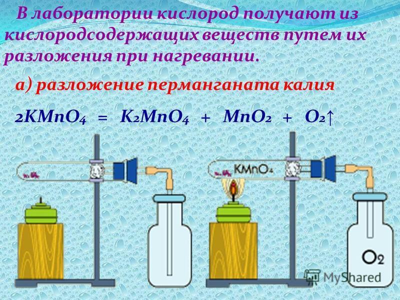 В лаборатории кислород получают из кислородсодержащих веществ путем их разложения при нагревании. а) разложение перманганата калия 2KMnO 4 = K 2 MnO 4 + MnO 2 + O 2