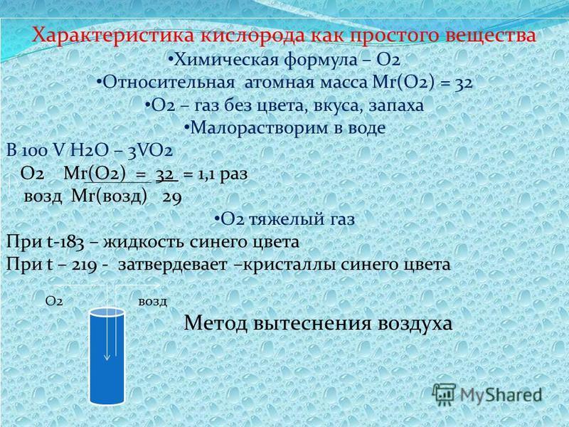 Характеристика кислорода как простого вещества Химическая формула – О2 Относительная атомная масса Mr(O2) = 32 О2 – газ без цвета, вкуса, запаха Малорастворим в воде В 100 V H2O – 3VO2 О2 Mr(O2) = 32 = 1,1 раз возд Mr(возд) 29 О2 тяжелый газ При t-18