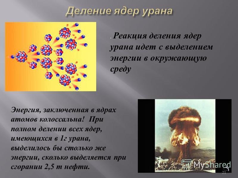 При делении ядра урана -235, освобождается 2 или 3 нейтрона. При благоприятных условиях эти нейтроны могут попасть в другие ядра урана и вызвать их деление. На этом этапе появятся уже от 4 до 9 нейтронов, способных вызвать новые распады ядер урана и