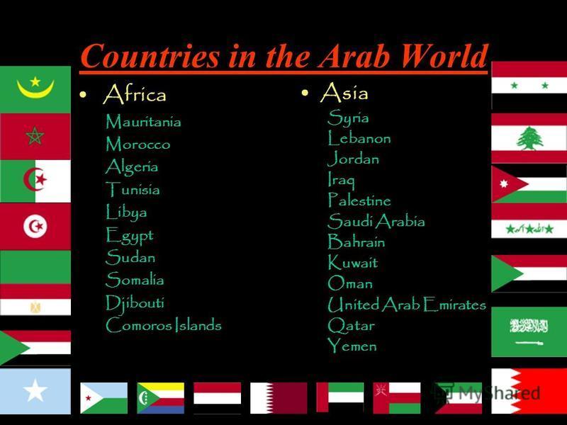 Asia Syria Lebanon Jordan Iraq Palestine Saudi Arabia Bahrain Kuwait Oman United Arab Emirates Qatar Yemen Africa Mauritania Morocco Algeria Tunisia Libya Egypt Sudan Somalia Djibouti Comoros Islands World Countries in the Arab World