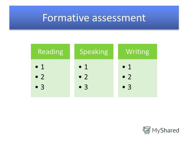 Formative assessment Reading 1 2 3 Speaking 1 2 3 Writing 1 2 3