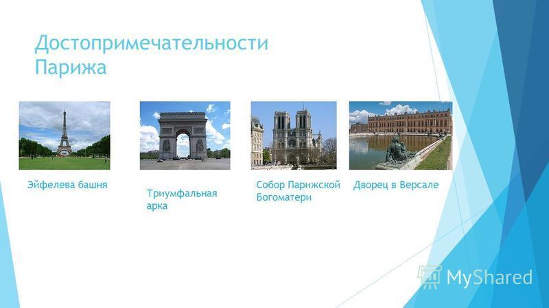 Достопримечательности Парижа Эйфелева башня Триумфальная арка Собор Парижской Богоматери Дворец в Версале