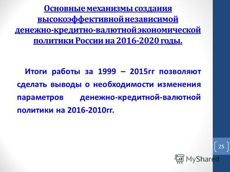 Основные механизмы создания высокоэффективной независимой денежно-кредитно-валютной экономической политики России на 2016-2020 годы. Итоги работы за 1999 – 2015 гг позволяют сделать выводы о необходимости изменения параметров денежно-кредитной-валютн