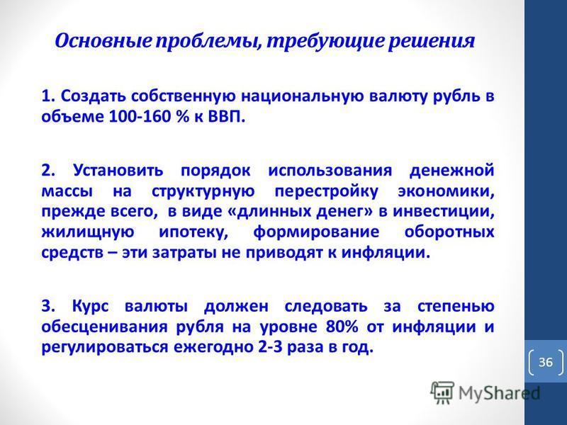 Основные проблемы, требующие решения 1. Создать собственную национальную валюту рубль в объеме 100-160 % к ВВП. 2. Установить порядок использования денежной массы на структурную перестройку экономики, прежде всего, в виде «длинных денег» в инвестиции