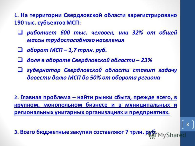 1. На территории Свердловской области зарегистрировано 190 тыс. субъектов МСП: работает 600 тыс. человек, или 32% от общей массы трудоспособного населения оборот МСП – 1,7 трлн. руб. доля в обороте Свердловской области – 23% губернатор Свердловской о