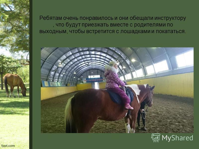 Ребятам очень понравилось и они обещали инструктору, что будут приезжать вместе с родителями по выходным, чтобы встретится с лошадками и покататься.