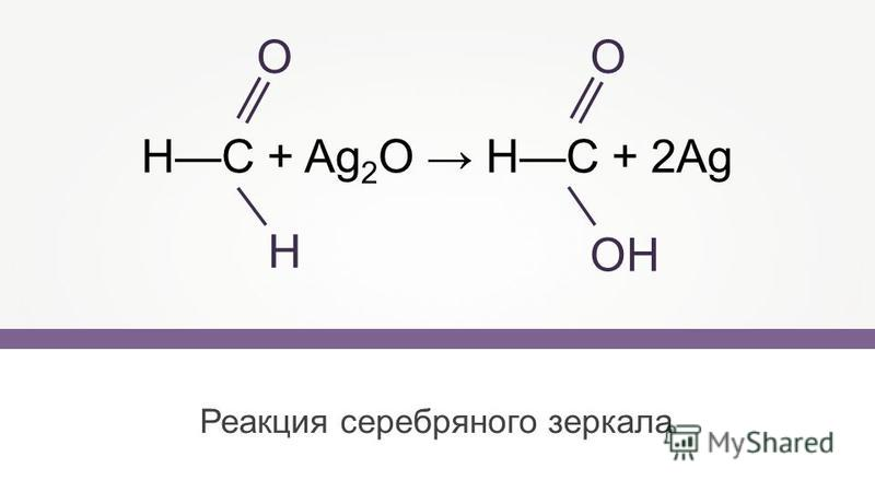 Реакция серебряного зеркала НС + Ag 2 O НС + 2Ag О Н О ОН