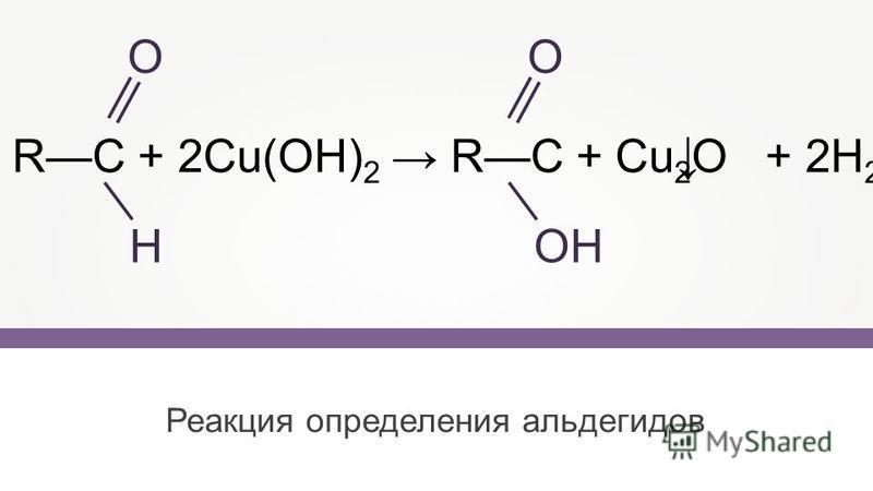 Реакция определения альдегидов RС + 2Cu(OH) 2 RС + Cu 2 O + 2H 2 O О Н О ОН