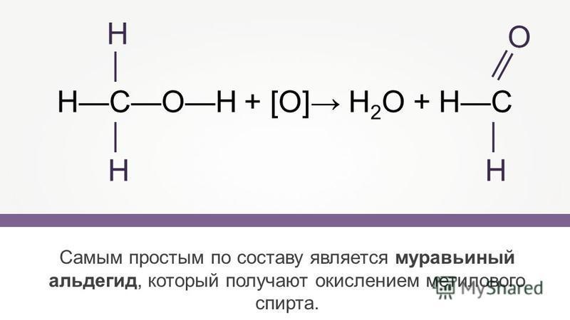 НСОН + [O] Н 2 О + НС Самым простым по составу является муравьиный альдегид, который получают окислением метилового спирта. Н Н О Н