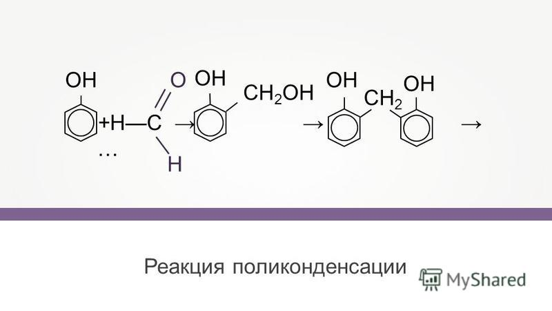 Реакция поликонденсации +HC … OH CH 2 OH OH CH 2 OH О Н OH