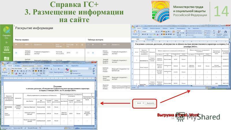 Справка ГС+ 3. Размещение информации на сайте Министерство труда и социальной защиты Российской Федерации 14