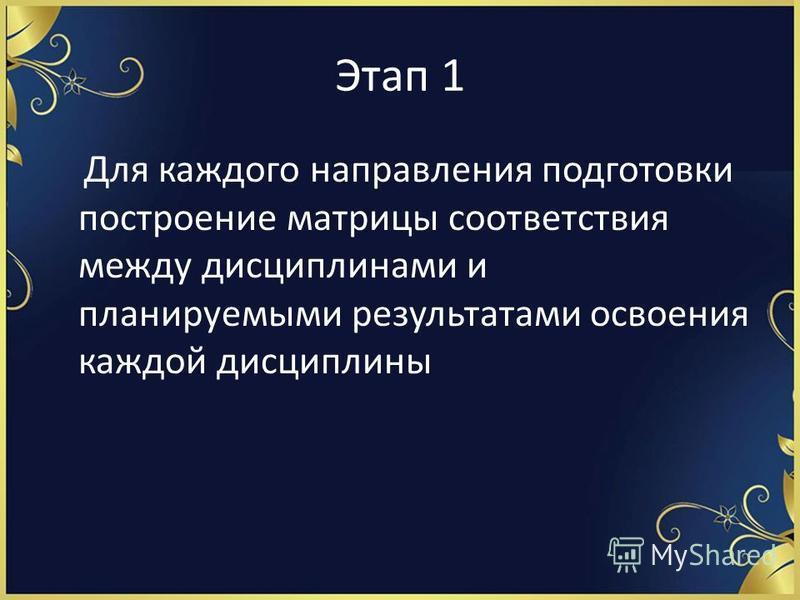 Этап 1 Для каждого направления подготовки построение матрицы соответствия между дисциплинами и планируемыми результатами освоения каждой дисциплины