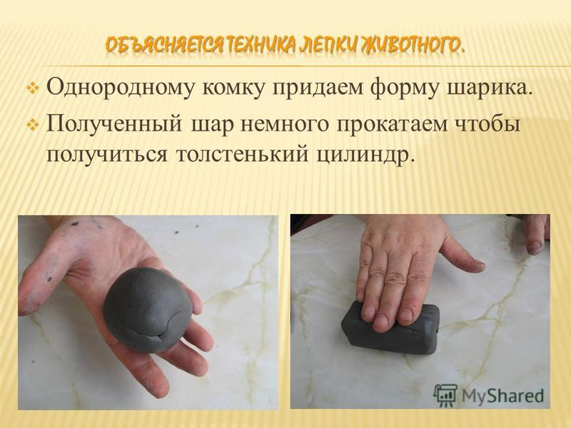 Однородному комку придаем форму шарика. Полученный шар немного прокатаем чтобы получиться толстенький цилиндр.