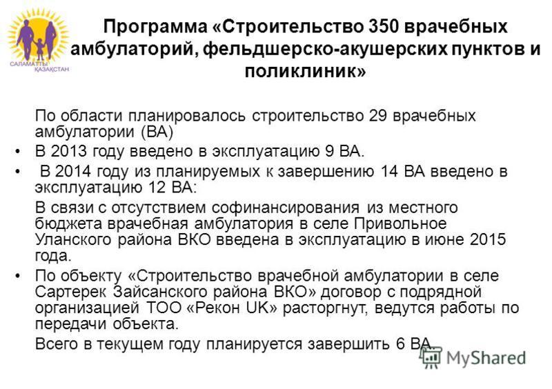 Программа «Строительство 350 врачебных амбулаторий, фельдшерско-акушерских пунктов и поликлиник» По области планировалось строительство 29 врачебных амбулатории (ВА) В 2013 году введено в эксплуатацию 9 ВА. В 2014 году из планируемых к завершению 14
