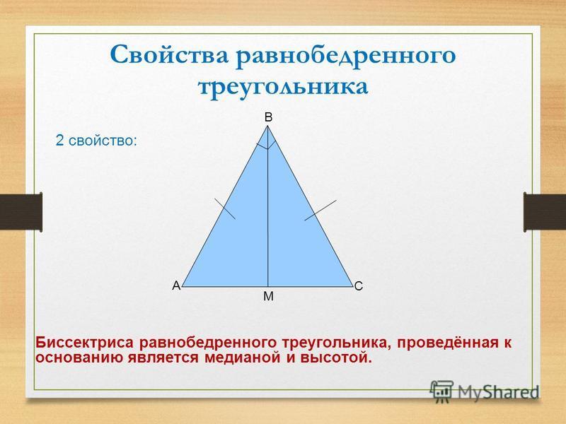 Свойства равнобедренного треугольника 2 свойство: А С В М Биссектриса равнобедренного треугольника, проведённая к основанию является медианой и высотой.