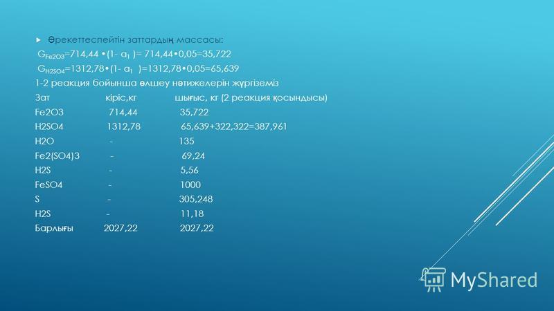 Алын ғ ан м ә ліметтерді (1)ші реакцияны ө лшеу ү шін қ олданамыз: Fe 2 О 3 + 3H 2 SO 4 = Fe 2 (SO 4 ) 3 + 3H 2 O Алдын ғ ы ө лшемдердегі Fe 2 (SO 4 ) 3 массасы 1696,81 кг те ң ж ә не алдын ғ ы есептеулер ү шін қ олданамыз. v Fe(SO4)2 =G Fe2(SO4)3 /M