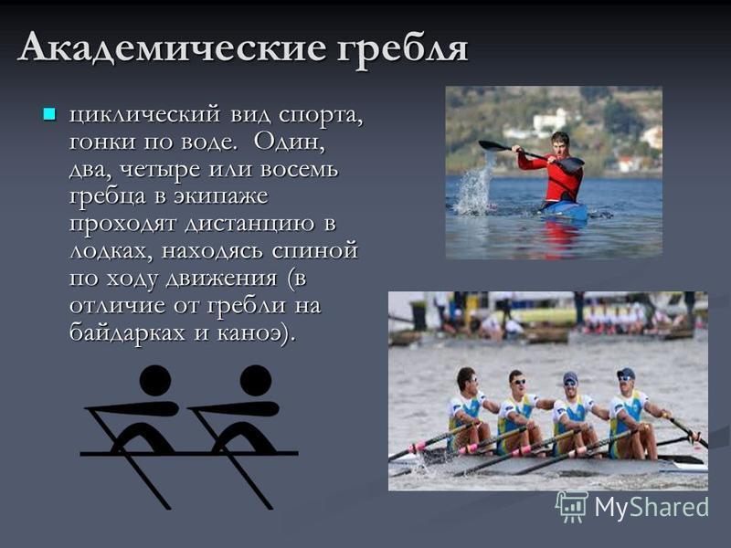 Академические гребля циклический вид спорта, гонки по воде. Один, два, четыре или восемь гребца в экипаже проходят дистанцию в лодках, находясь спиной по ходу движения (в отличие от гребли на байдарках и каноэ). циклический вид спорта, гонки по воде.