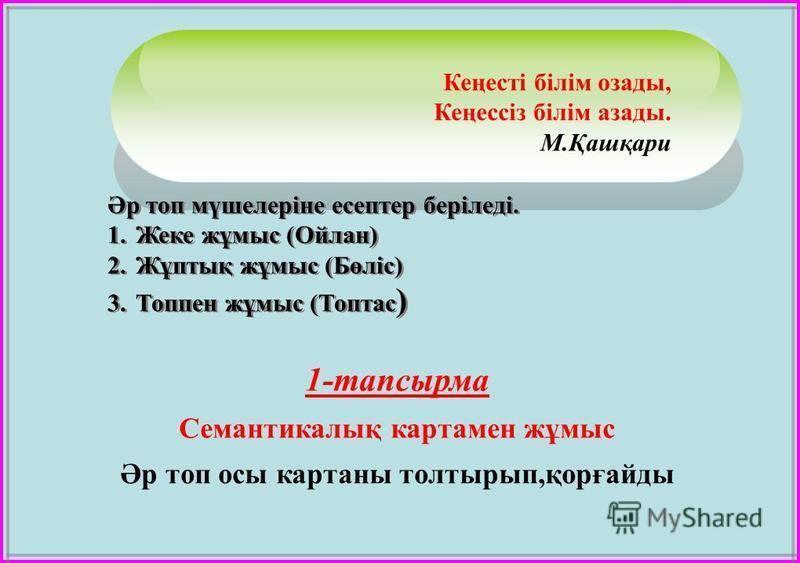 Кеңесті білім озады, Кеңессіз білім азады. М.Қашқари Әр топ мүшелеріне есептер беріледі. 1.Жеке жұмыс (Ойлан) 2.Жұптық жұмыс (Бөліс) 3.Топпен жұмыс (Топтас ) Әр топ мүшелеріне есептер беріледі. 1.Жеке жұмыс (Ойлан) 2.Жұптық жұмыс (Бөліс) 3.Топпен жұм