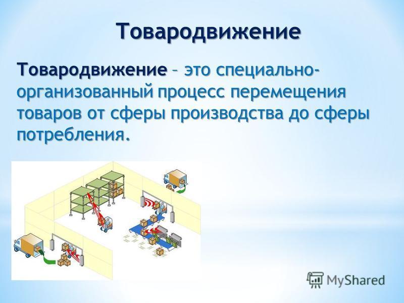 Товародвижение – это специально- организованный процесс перемещения товаров от сферы производства до сферы потребления. Товародвижение