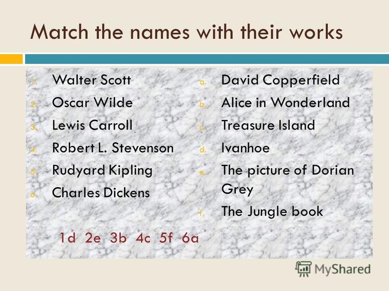 Match the names with their works 1. Walter Scott 2. Oscar Wilde 3. Lewis Carroll 4. Robert L. Stevenson 5. Rudyard Kipling 6. Charles Dickens 1d 2e 3b 4c 5f 6a a. David Copperfield b. Alice in Wonderland c. Treasure Island d. Ivanhoe e. The picture o