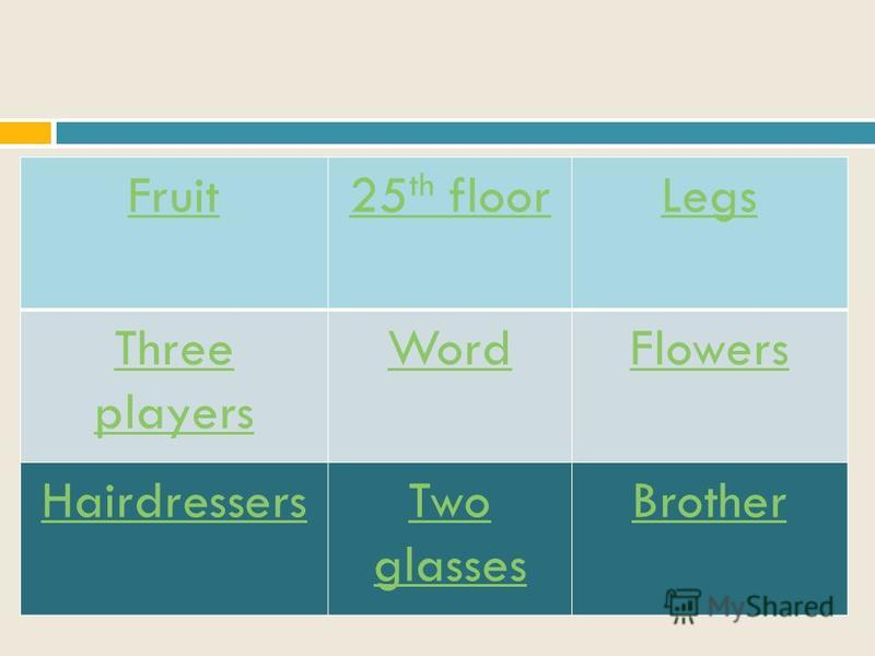 Fruit25 th floorLegs Three players WordFlowers HairdressersTwo glasses Brother
