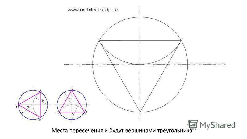 Места пересечения и будут вершинами треугольника.