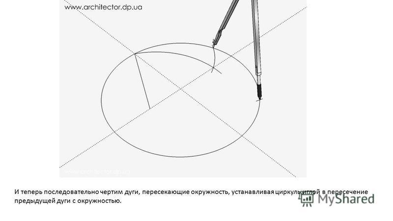 И теперь последовательно чертим дуги, пересекающие окружность, устанавливая циркуль иглой в пересечение предыдущей дуги с окружностью.