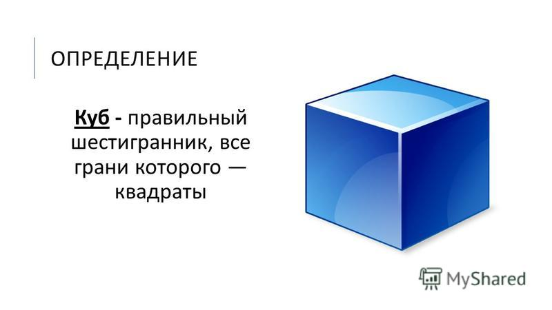 ОПРЕДЕЛЕНИЕ Куб - правильный шестигранник, все грани которого квадраты