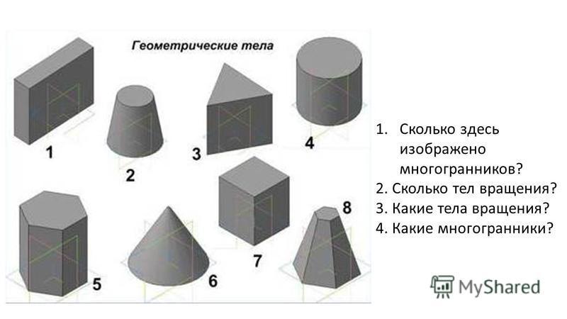 1. Сколько здесь изображено многогранников ? 2. Сколько тел вращения ? 3. Какие тела вращения ? 4. Какие многогранники ?