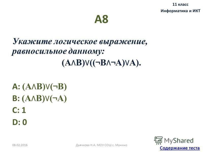 А8 Укажите логическое выражение, равносильное данному: (А B) (( ¬ B ¬ A) A). A: (А B) ( ¬ B) B: (А B) ( ¬ A) C: 1 D: 0 Содержание теста 08.02.2016Дьячкова Н.А. МОУ СОШ с. Мунино