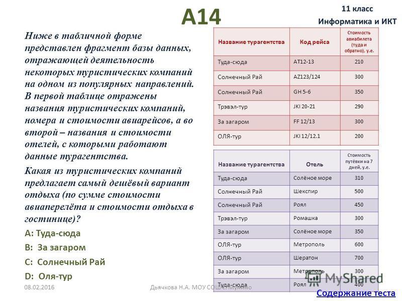 А14 Ниже в табличной форме представлен фрагмент базы данных, отражающей деятельность некоторых туристических компаний на одном из популярных направлений. В первой таблице отражены названия туристических компаний, номера и стоимости авиарейсов, а во в