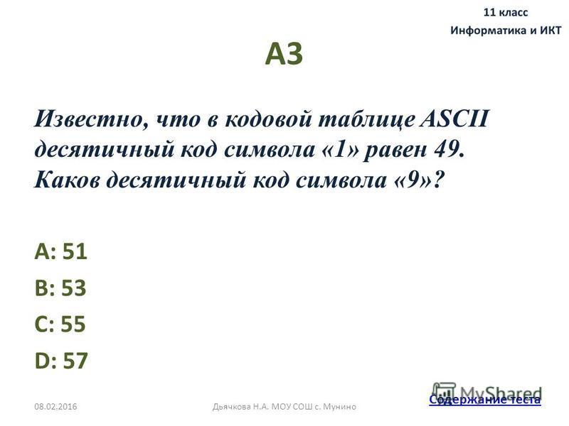 А3 Известно, что в кодовой таблице ASCII десятичный код символа «1» равен 49. Каков десятичный код символа «9»? A: 51 B: 53 C: 55 D: 57 Содержание теста 08.02.2016Дьячкова Н.А. МОУ СОШ с. Мунино